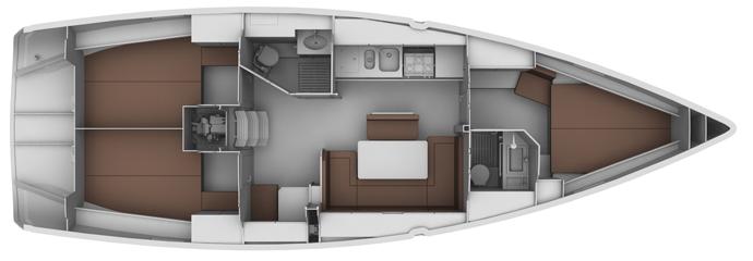 Layout der Bavaria Cruiser 40 Charteryacht · Skippertraining & Ausbildungsyacht