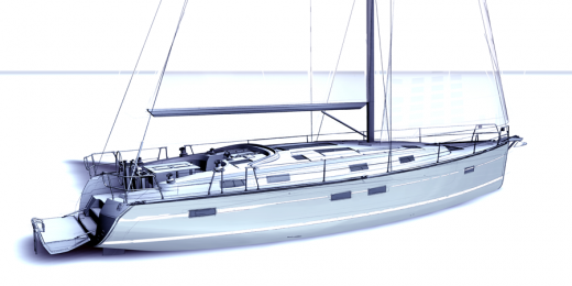 Skizze der Segelyacht Bavaria 50 Fuss