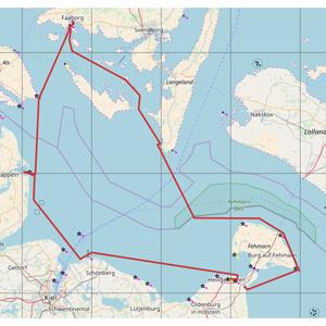 mehrtägiges Segeln - Seekarte westliche Ostsee mit Segelroute dänische Südsee